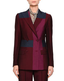 Colorblock Double-Breasted Jacket, Barolo/Peony/Pacific