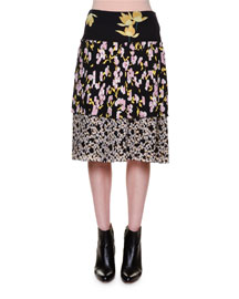 Layered Floral-Print Crepe Skirt, Navy
