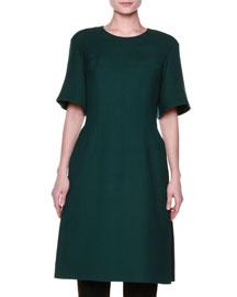 Flared Half-Sleeve Side-Slit Dress, Green