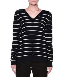Long-Sleeve Striped V-Back Sweater, Navy