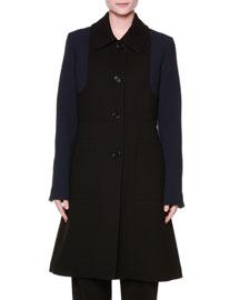 Bicolor Double-Face Wool A-Line Coat, Black/Blue