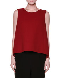 Sleeveless Wool Crepe A-Line Top, Red