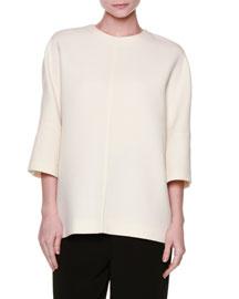 3/4-Sleeve Wool Crepe Top, White