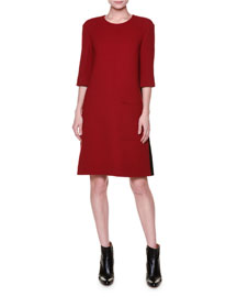 Half-Sleeve A-Line Patch-Pocket Dress, Red