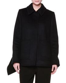 Heavy Felted Wool Wing-Side Coat, Black