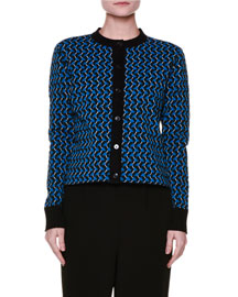 Long-Sleeve Graphic Knit Cardigan, Blue