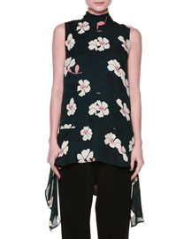 Sleeveless Floral-Print Draped Georgette Top, Green