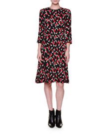3/4-Sleeve Floral-Print Dress, Red/Black