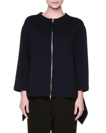 Wool Jersey Zip-Front Jacket, Blue/Black