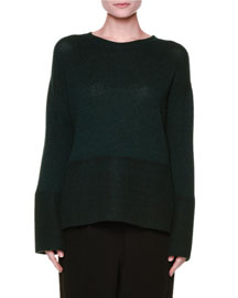 Long-Sleeve Knit Cashmere Sweater, Green