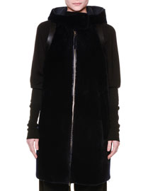 Leather Vest w/Shearling Fur Back, Black/Black