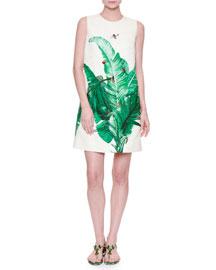 Banana Leaf-Print Shift Dress w/Bee Embroidery, White/Green