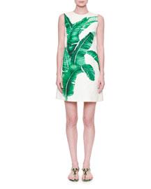 Sleeveless Banana-Leaf Shift Dress, White/Green