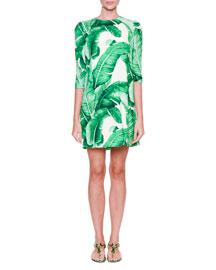 3/4-Sleeve Banana Leaf-Print Dress