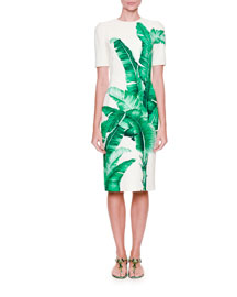 Banana Leaf-Print Sheath Dress, Foglie Banano