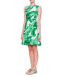 Sleeveless Banana Leaf Dress w/Bee Embellishment