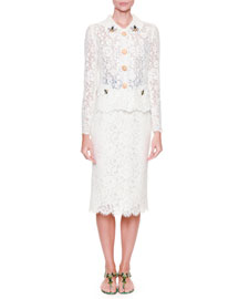 Lace Jacket w/ Bee Embroidery, White