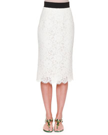 Floral Lace Pencil Skirt, White