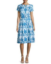 Donna Short-Sleeve Button-Front Dress, Sea Blue