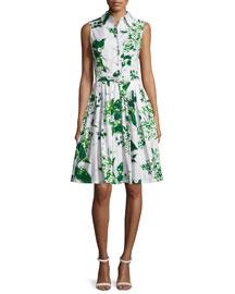 Claire Sleeveless Blossom-Print Shirtdress, White