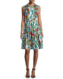 Claire Sleeveless Floral-Print Shirtdress, Red