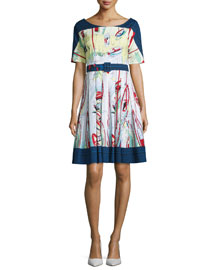 May Printed Half-Sleeve A-Line Dress, Indigo