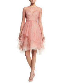 Long-Sleeve Lace Illusion Dress, Azalea
