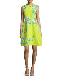 Sleeveless Embellished Faille Cocktail Dress, Chartreuse