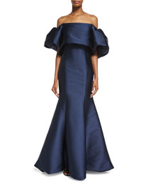 Structured Satin Off-the-Shoulder Gown, Midnight