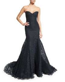 Strapless Corded Lace Trumpet Gown, Midnight