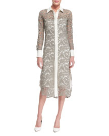 Long-Sleeve Lace Midi Shirtdress, Nickel/Ivory