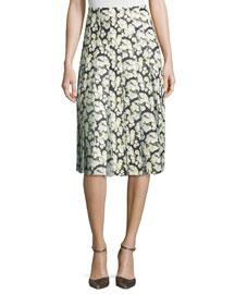 High-Waist Floral-Print Combo Skirt, Mini Dahlia