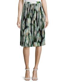 Micro-Pleated Silk Skirt, White Dahlia