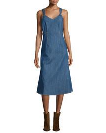 Sleeveless Denim A-Line Dress, Blue Indigo