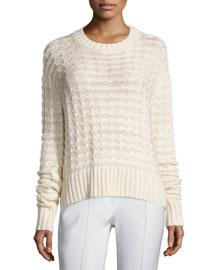 Long-Sleeve Boxy Knit Sweater, Ivory