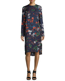 Long-Sleeve Floral-Print Dress, Fantasia Blue