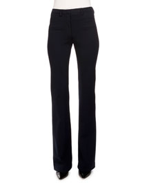 Serge Stretch-Woven Boot-Cut Pants, Navy