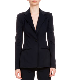 Long-Sleeve One-Button Jacket, Navy