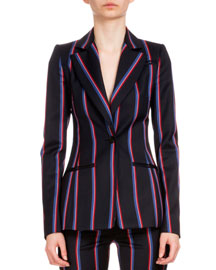 Striped Wool-Blend One-Button Jacket, Navy/Red