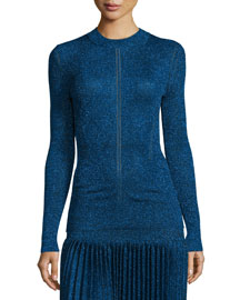 Long-Sleeve Metallic Knit Top, Navy