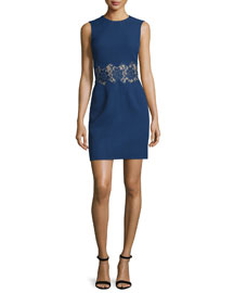 Sleeveless Crepe Sheath Dress w/Lace Inset, Navy