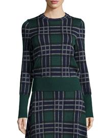 Knit Plaid Wool Sweater, Fantasy/Green