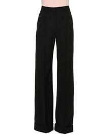 Wide-Leg Cady Pants