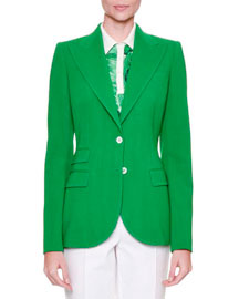 Notch-Collar Cady Jacket, Brilliant Green