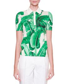 Banana Leaf-Print Polo Shirt