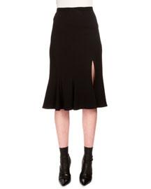 Flared Cady Midi Skirt w/Slit, Black