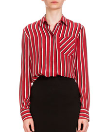 Long-Sleeve Striped Silk Blouse, Black/Red/White
