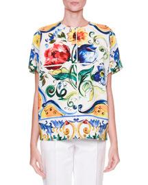 Maiolica Tile-Print T-Shirt