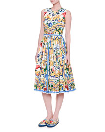 Sleeveless Maiolica Tile-Print Cotton Dress