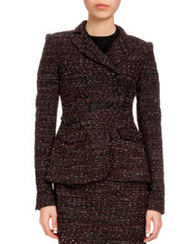 Doubled-Breasted Tweed Jacket, Black/Red